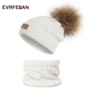 Ring-Scarf-Set Beanies Knitted Girls Winter Children Casual Cute Boys Kids 2PCS for Solid-Color