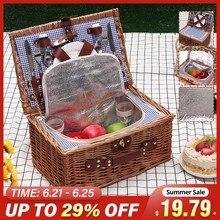 Плетеная корзина для пикника на 2 человек, набор уличных ланч-боксов для кемпинга, сумка для льда с изоляцией, Портативная сумка для покупок ...
