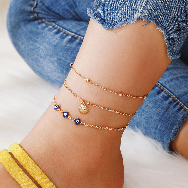 Tocona Gold Shell Eye Boho Anklets for Women Multi-layer Chain Foot Bracelet Charm Anklet Jewelry Tobillera 3pcs/set B31201
