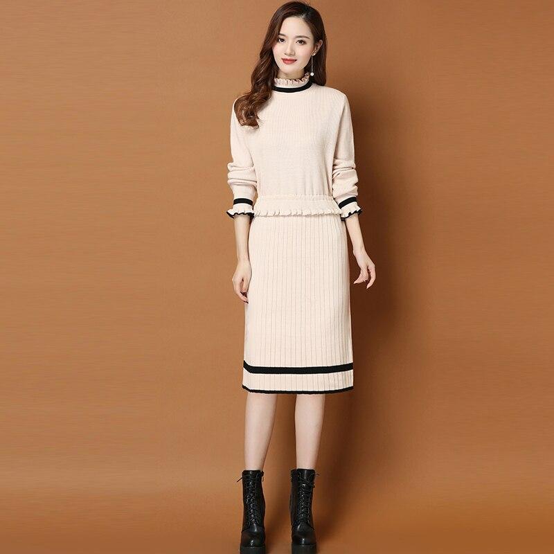 2019 automne hiver nouveau pull en tricot robe femmes à manches longues grande taille mi-longue à volants demi col roulé pull tricoté robe 3XL - 2