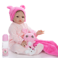 55 cm Reborn Doll Silicone and cloth girl doll with a hat fashion bebe Reborn Dolls Lifelike simulation baby Kids gift toy