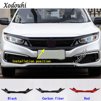 Car Cover Trim Front Logo Mark Decorative Mark Grid Grill Grille Racing Frame Sticker For Honda Civic 10th Sedan 2019 2020 2021