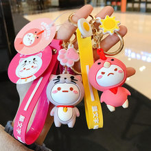 Creative cute cartoon Chicken sheep elephant cat Rabbit doll keychain male and female bag key chain ring car pendant Jewelry(China)
