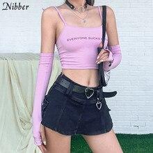 Nibber mode high street baumwolle crop top frauen camisole sommer streetwear Grundlegende süße nette grafik tees femme weste tank tops