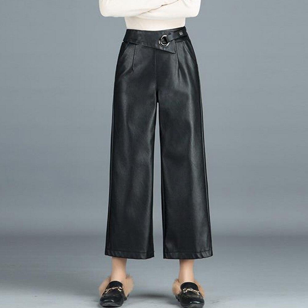 2019 Autumn Pu Leather   Wide     Leg     Pants   Women Black Elastic Bottoms Female Loose Ankle Length Trousers Ladies Office   Pants   Femme