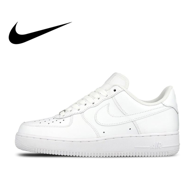 Original Oficial Nike AIR FORCE 1 AF1 Formadores Dos Homens Respirável Sapatos de Skate Baixo-top Sneaker Plana Esportes Ao Ar Livre Clássico
