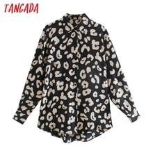 Tangada女性特大動物プリントシャツ長袖2020シックな女性カジュアルルーズシャツブラウストップス3H696