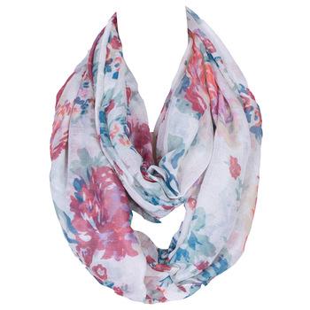 2018 Hot moda Loop szal Vintage nerkowca z niebieskim nadrukiem pierścień szaliki kobiety zima nieskończoność szalik Echarpe Foulard Femme 180*80 cm tanie i dobre opinie daguanjing WOMEN Dla dorosłych Poliester Drukuj 175 cm flowers infinity women scarf