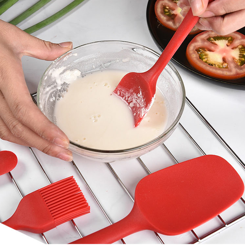 6PCs/Set Red Baking Tool Spatula Brush Set Silicone Kitchenware Cream Scraper Mixing Batter Scraper Brush Butter Bakeware Tool