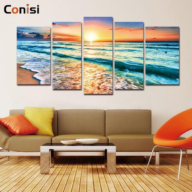 Conisi 5 панелей настенное Искусство Холст Морской пейзаж картины пляжный Настенный декор морская стена искусство для дома офиса Декор