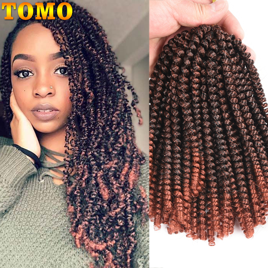 TOMO 8Inch Ombre Spring Twist Hair Crochet Braids Passion Twist Synthetic Braiding Hair Extensions 30Roots Black Brown Red Color