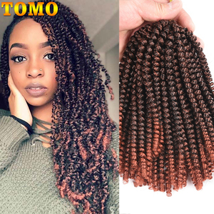TOMO 8Inch Ombre Spring Twist Hair Crochet Braids Passion Twist Synthetic Braiding Hair Extensions 30Roots Black Brown Red Color(China)