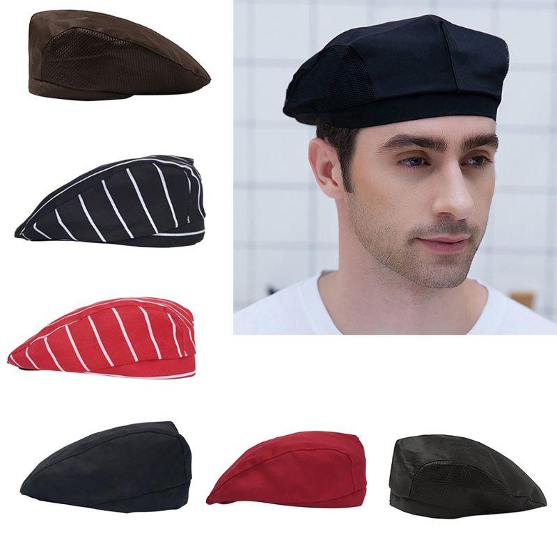 Mens Womens Chef Hat Pastry Baker Kitchen Cook Coffee Shop Duckbill Beret Cap