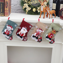 Lin noël bas père noël bonhomme de neige chaussette bonbons sac porte cadeau arbre de noël ornement décoration de noël pour la maison