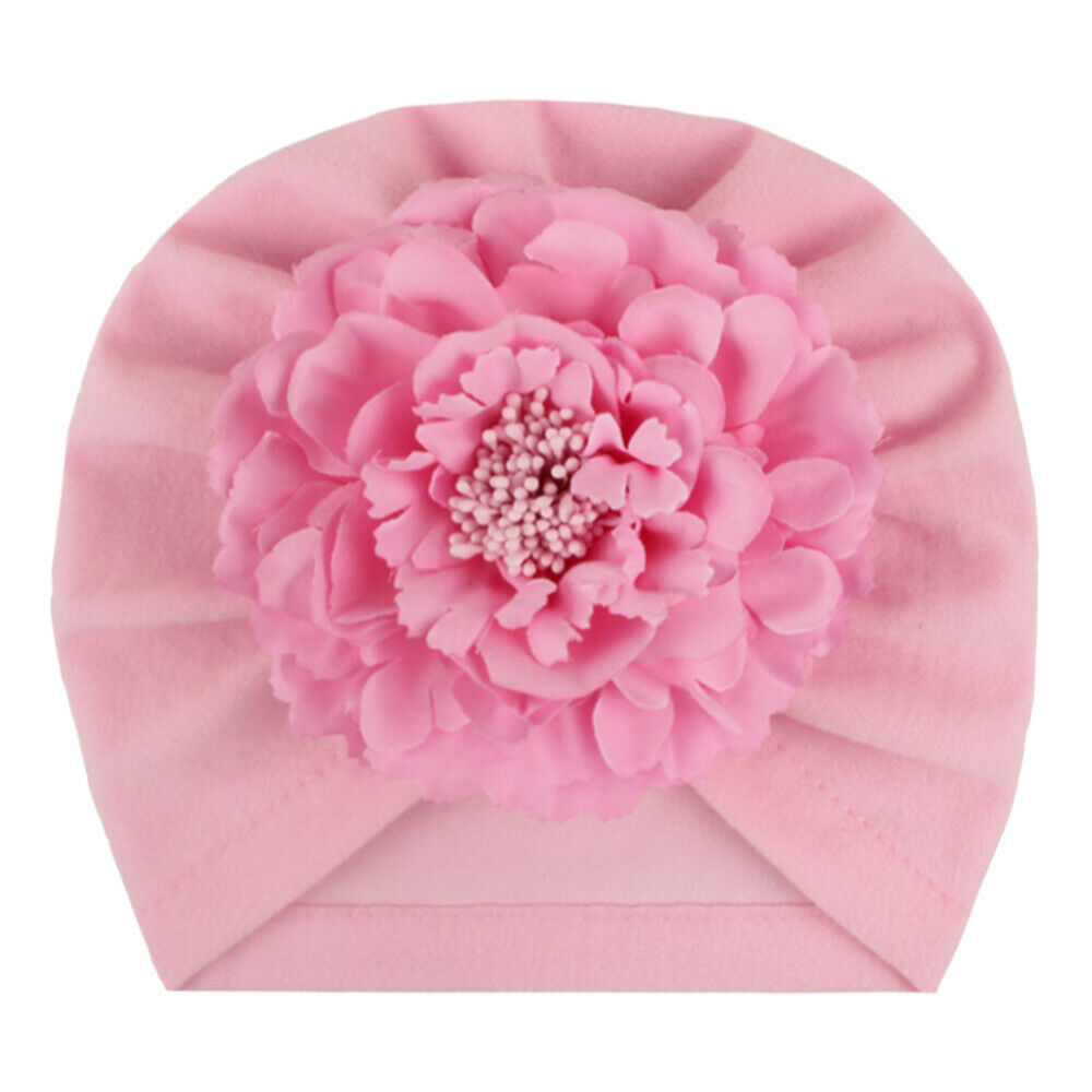 Baby Spring Pleated Flower Hat Cotton Turban Infant Photography Kids Beanie Caps