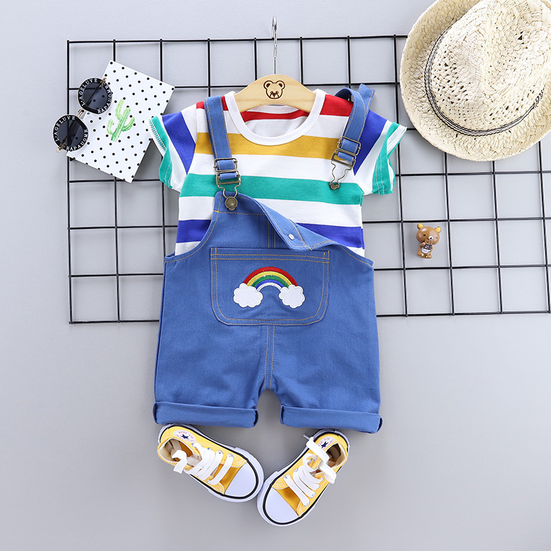 Summer Baby Clothes Set 2 PCS/Set Boys And Girls Cartoon Outfits Toddler Baby T-shirt Bib Pants Kids Tracksuit Clothing Sets