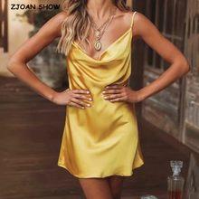 2020 seksi Slash yaka Backless parlak saten askı elbise kadın Vintage spagetti kayış bir çizgi ipek gibi kısa taban elbise Sling