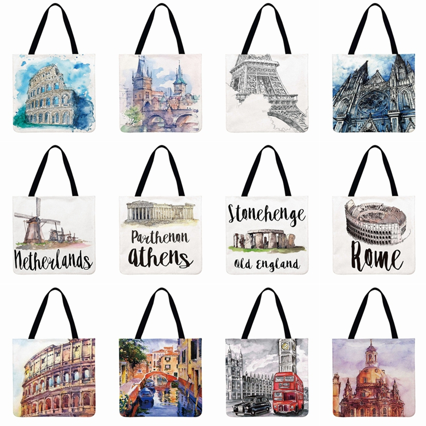 Women Shoulder Bag World Architecture Printied Tote Bag Linen Febric Casual Tote Foldable Shopping Bag Beach Bags
