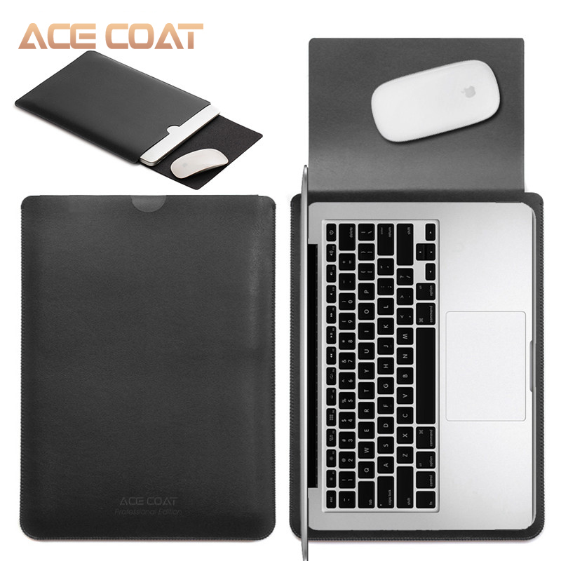 Image 2 - ACECOAT Microfiber PU Leather Sleeve Protector Bags for Macbook Air Pro Retina13 12 15 16 Laptop Sleeve Business No Zippercovers for maclaptop coverbag for macbook air -