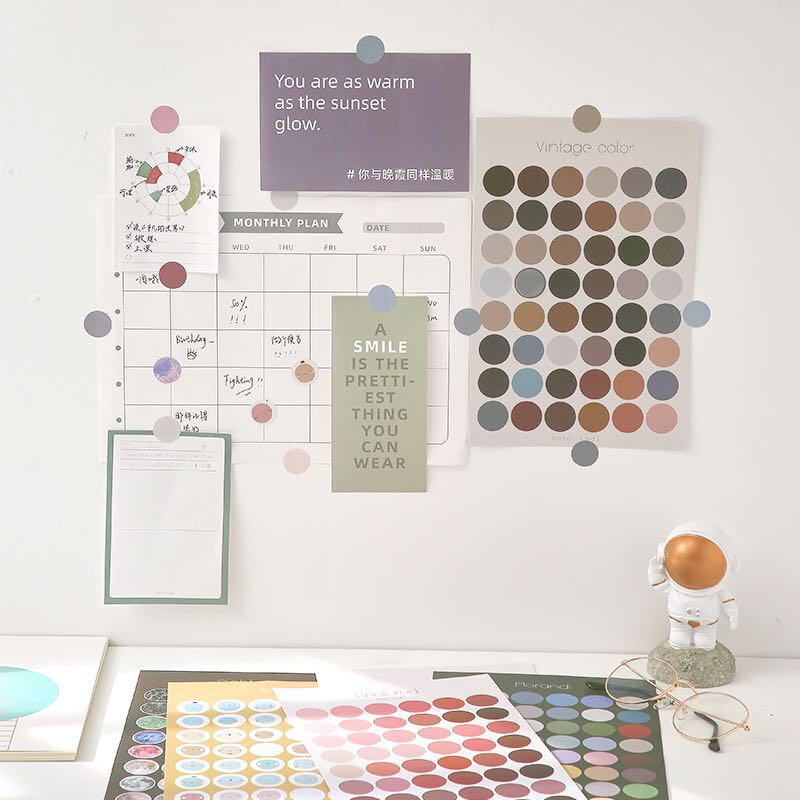 JIANWU 2pcs/set Morandi Round Sticker Multifunctional Basic Mark Stickers DIY Diary Decor Bullet Journal Cute Bookmark