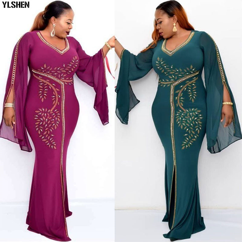 African Dresses For Women Dashiki Diamond Robe Africaine Femme 2020 Africa Dress African Clothes Long Maxi Evening Party Dress