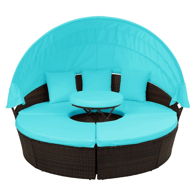 Round Outdoor Sectional Sofa Daybed With Retractable Canopy  5