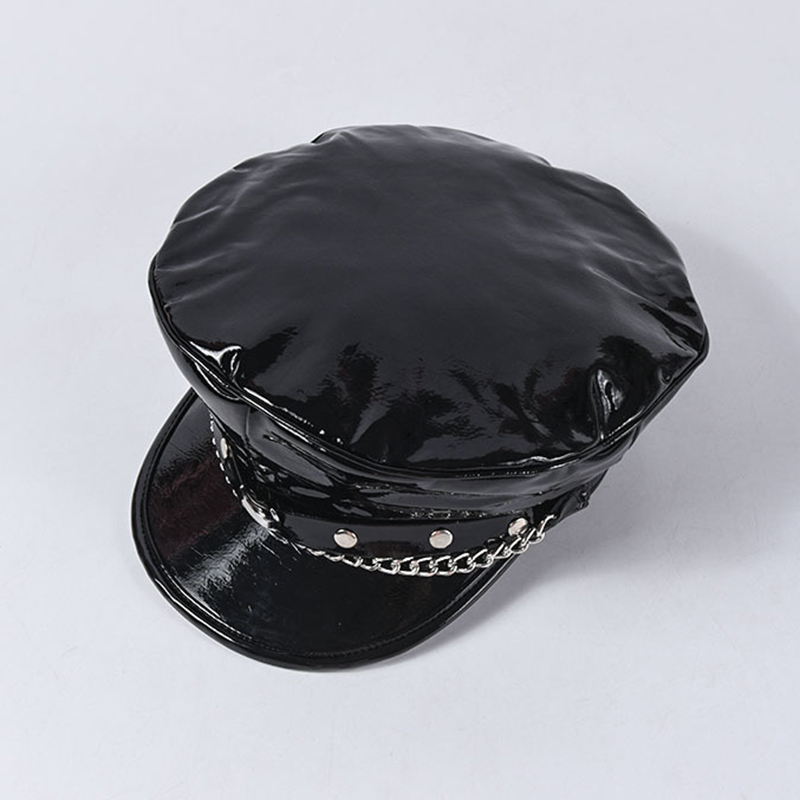 Image 4 - 2020 Autumn Winter New Fashion Show Moon Rivet Chain Military Caps Luxury Brand Octagonal Hat Patent Leather Newsboy Cap Unisex-in Men's Sun Hats from Apparel Accessories