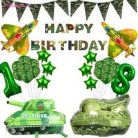Globos de látex de camuflaje de 12 pulgadas para decoración del banquete de boda, tanque de combate con temática militar, juguete de la policía, Bola de aluminio azul con estampado verde