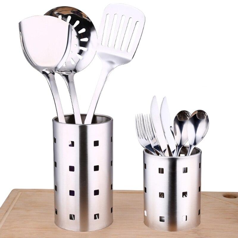 Stainless steel chopsticks cage, drain kitchen utensils, barrel stand, creative kitchen tools, thickened round chopsticks for st