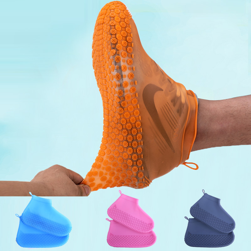 Outdoor Latex Shoe Cover Silicone Cycling Rain Shoes Boot Covers Reusable Waterproof Thickening Non-slip Wear Foot Cover Protect