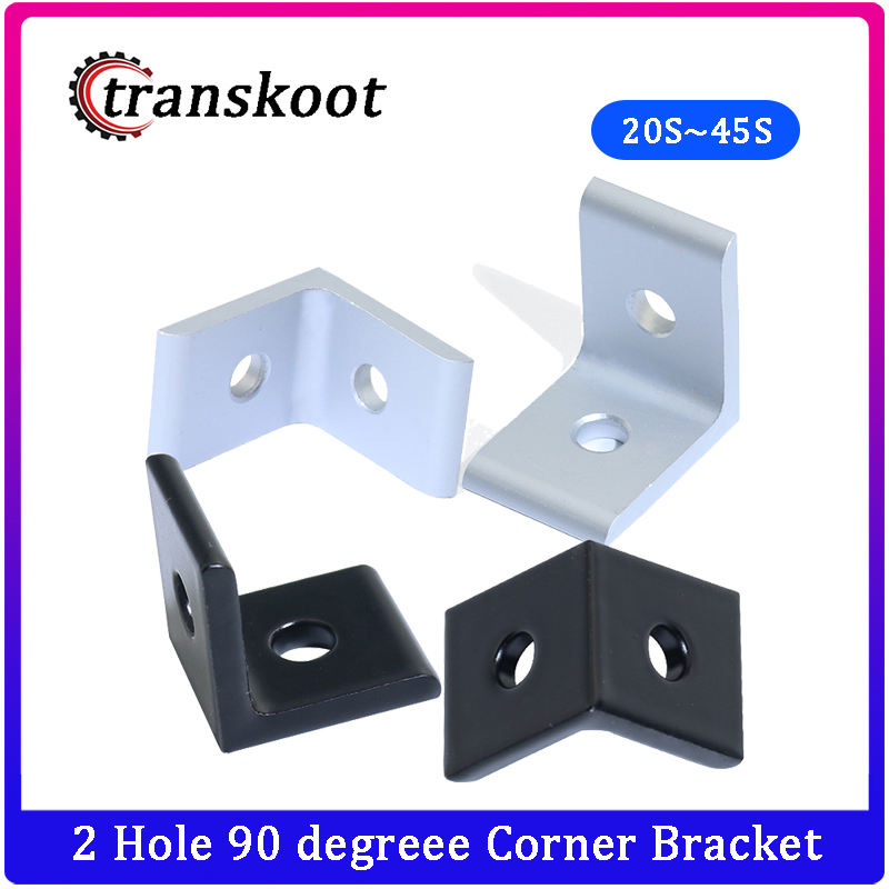 2020 <font><b>3030</b></font> 4040 4545 Aluminum Extrusion Profile Aluminum Alloy 2 Hole 90 degreee Inside Corner Bracket image