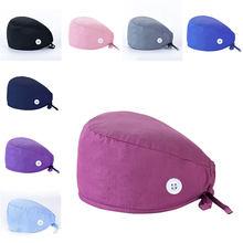 Automne gros docteur chapeau infirmière pur coton serviette absorbant la sueur casquettes avec bouton chirurgical casquette couvre-chef pour les femmes femme