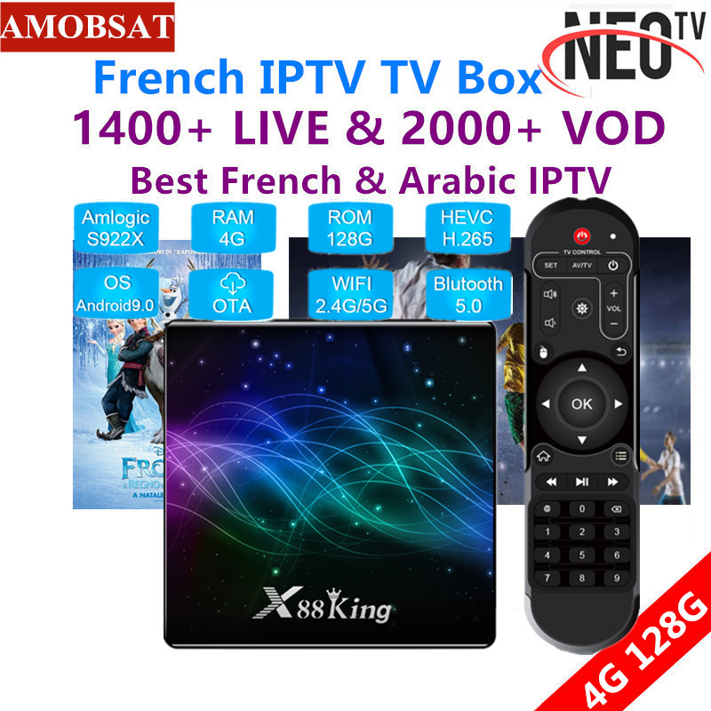X88 King 4GB 128G Amlogic S922X Android 9.0 TV Box BT5.0 1000M 4K Media Player+1 Year French NEO Pro IPTV Subscription IPTV Box
