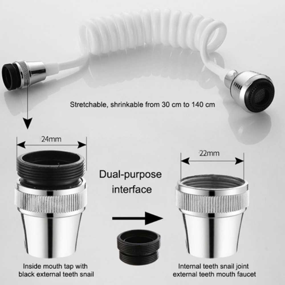 Kitchen Faucet Extender Long Hose Telescopic Shower Nozzle Rotatable Sprayer