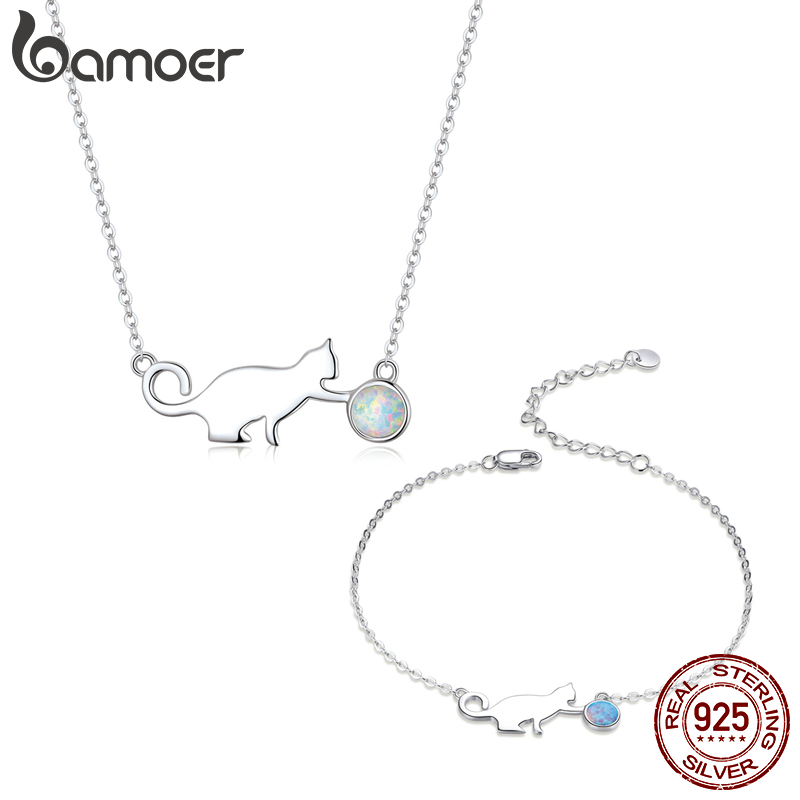 bamoer 925 Sterling Silver Kitty Pussy Cat with Ball Opal Chain Necklace Bracelet Jewelry Sets Statement Jewelry Gifts ZHS193