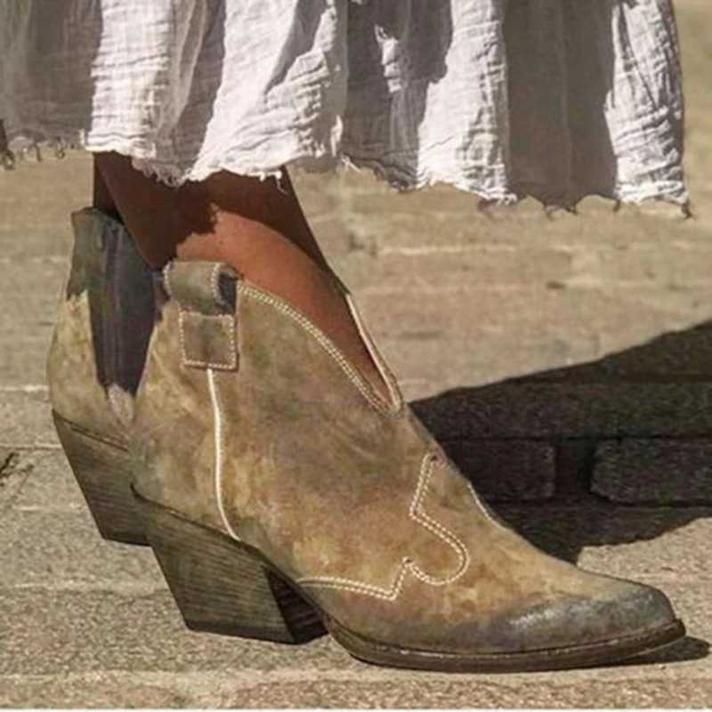 CYSINCOS 2019 sonbahar kadın yarım çizmeler derin V şekli sivri burun Zip Vintage moda ayakkabılar bayanlar platformu tıknaz Med topuklar