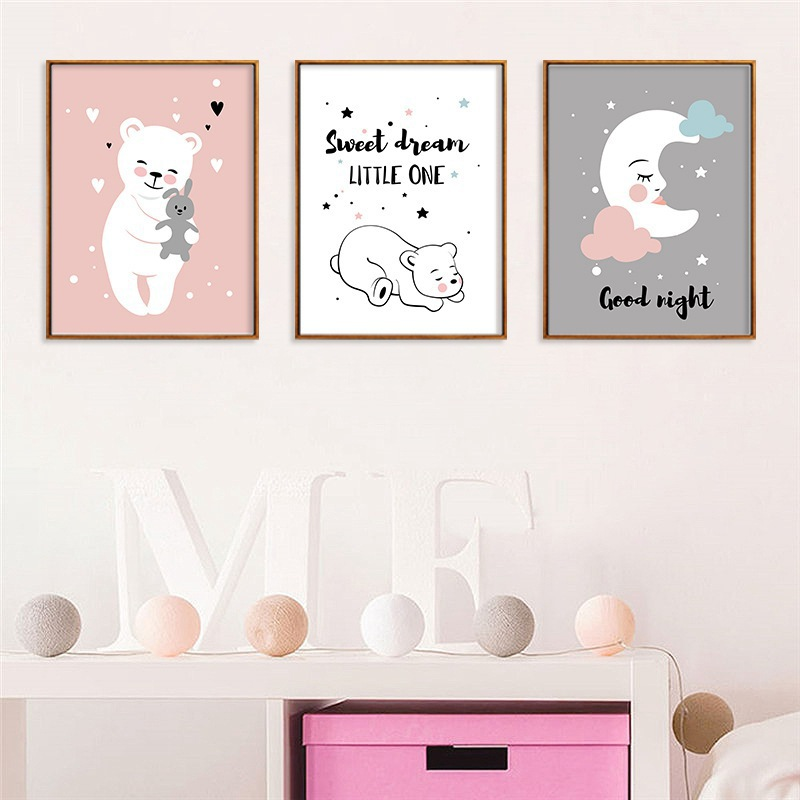 Foreign Trade Hot Selling Sweet Cute Cartoon Moon Bear Canvas CHILDREN'S Room Decorational Picture Frameless Painting Core