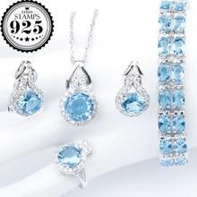 Conjunto de joyas de plata 925 con colgante de circón azul para mujer, juego de anillos, Clips, joyería, caja de regalo