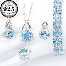 Neue Silber 925 Hochzeit Schmuck Sets Blau Zirkon Anhänger Halskette Armbänder Clips Ohrringe Ringe Für Frauen Set Schmuck Geschenk Box