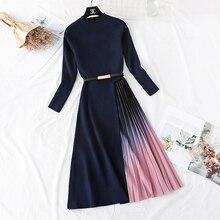Women's Long Sleeve Gradient Colours Knit Pacthwork Dresses