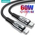 Joyroom 60 Вт PD USB Type C кабель для iPhone 12 11 Pro Xs Max Быстрая зарядка зарядное устройство для MacBook iPad Type-C USBC провод для передачи данных Шнур