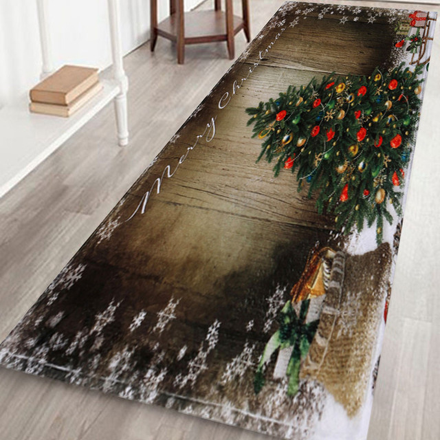 Felpudo con impresión 3D de Feliz Navidad en 7 estilos, felpudo antideslizante para el baño, tapete/alfombra que absorbe el agua, 40x120M