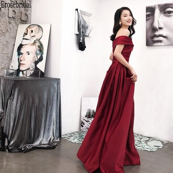 цена на Erosebridal Off Shoulder Evening Dress 2020 Satin Long Prom Dress Party Gown Lace Up Back Simepl Design Pleat Body Design