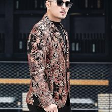 High Quality Men Colorful Floral Printed Sheepskin Blazer Wedding Party Genuine Leather Jacket Slim Fit Business Man Suit Coat(China)