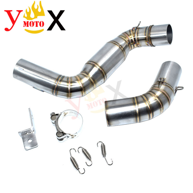 Motorcycle Slip On Link Exhaust Middle Pipes W/ Mid Drum Escape Connection Muffler For KTM DUKE 125 200 390 2011-2016 2012 2013 image