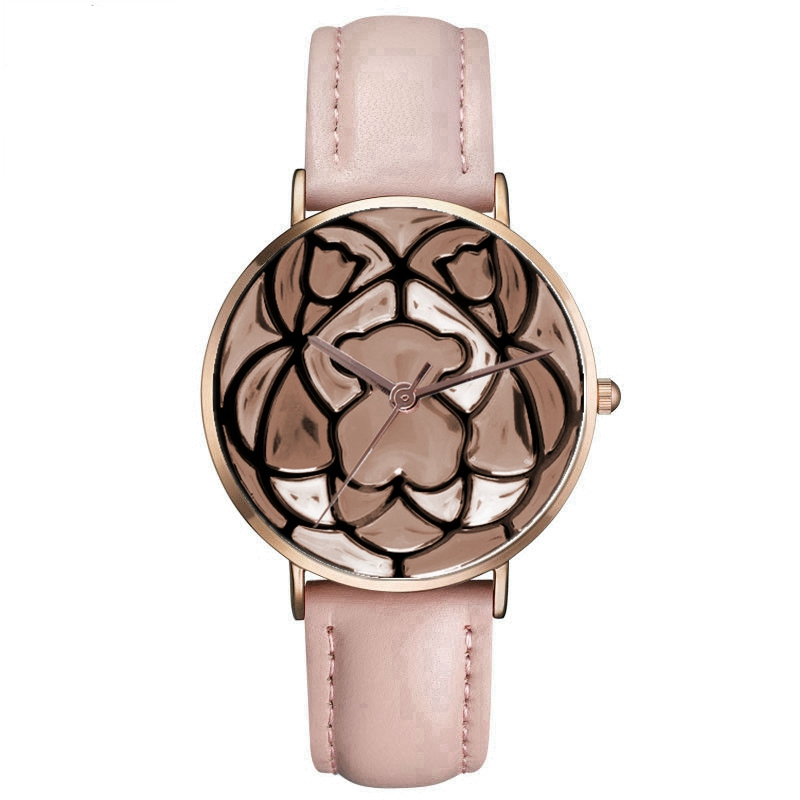 New Fashion Rose Gold Cute Bear Women's Watch Leather Quartz Wristwatches