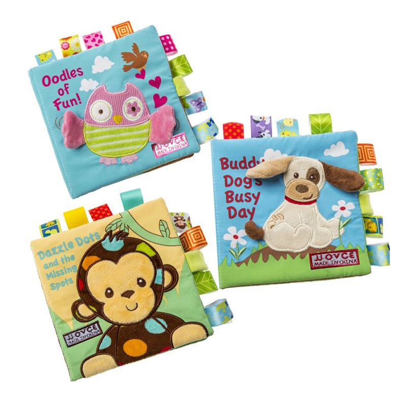 Infant Baby Cloth Book Cartoon Animal Pattern Baby Soft Activity Crinkle Cloth Books Educational Learning Toys