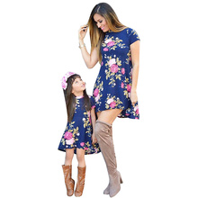 Mother and Daughter Clothes Mini Dress Family Matching Outfits Floral Print Short Sleeve Dress Casual Women Baby Girl's Dress long sleeve floral print mini swing dress