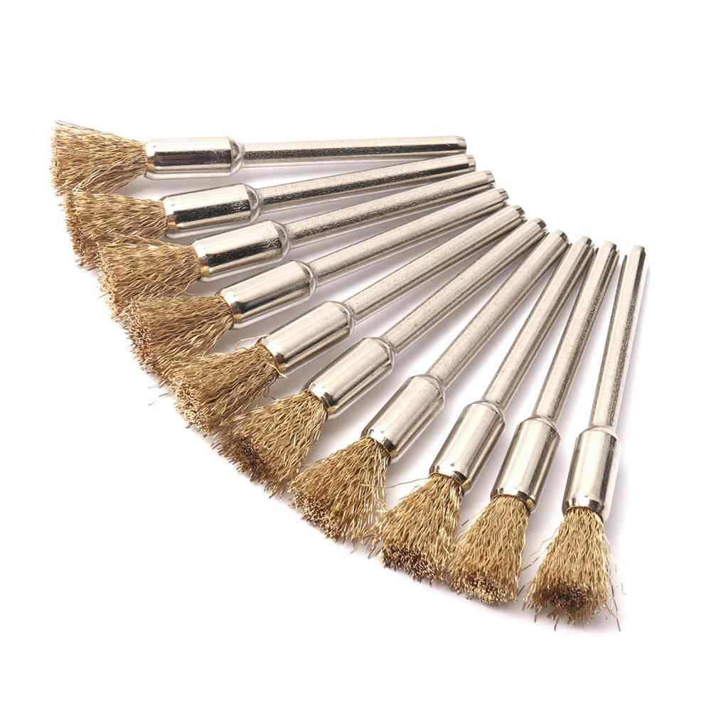 10Pcs Wire Brush Brushes Brass Cup Wheel For Grinder Drill buffing rust Removal