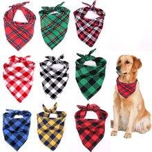 Clássico vermelho preto xadrez cão de estimação bandana gato filhote de cachorro kerchief pet grooming acessórios neckerchief cachecol cão saliva toalha